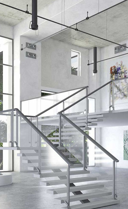 parapetto vetro e alluminio